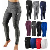 Womens High Waist Yoga Leggings Pocket Capri Pants Fitness Sport Gym Trousers G4