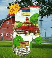 New Home Collection Kitchen Red Farm Truck & Rooster Oven Mitt Glove 7 x 13