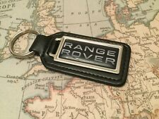 RANGE ROVER BLACK Quality Black Real Leather Keyring  OBLONG