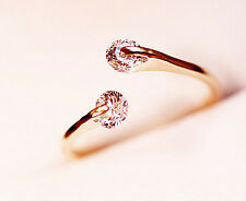 Fashion Rose plated Crystal Engagement Wedding Party Ring women Jewelry