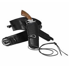 Western Holster Belt - Black - Deluxe Cowboy Single Leather Look Adult Fancy