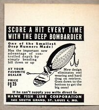 1950 Print Ad Deep Bombardier Fishing Lures Hawk Fish Lure St Louis,MO