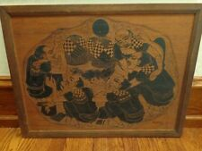 Vintage Japanese Wood Cut Carving, Painting, Signed, 1967