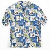 Royal Creations Mens Hawaiian Camp Shirt Size 2XL Aloha Turtle Ukulele Honu EUC