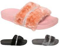 Womens Strip Diamante Faux Fur Slip on  Flip Flop Slider Casual Shoes Slippers
