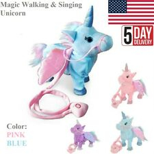 Magic Animated Walking & Singing Unicorn Electronic Toys Blue Pink for Kids US