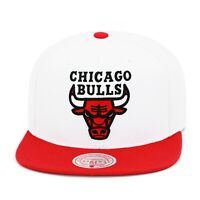 Mitchell & Ness Chicago Bulls Snapback Hat Cap White/Red/Black Letter & Red Logo