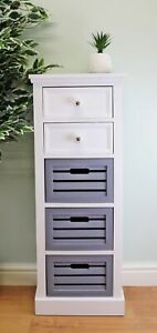 Contemporary Grey & White Chest Of Drawers Wooden 5 Drawer Storage Cabinet Decor
