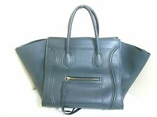 Authentic CELINE Dark Green Luggage Small Square Phantom Leather Tote Bag