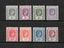 1938 King George VI SG252 to SG259 set of 8 stamps Mint Hinged MAURITIUS