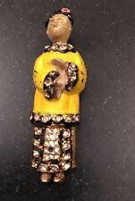 Chinese Asian Rhinestone Enamel Figural Fur Clip Brooch Pin Patent Pend
