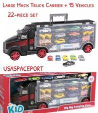 Large MACK TRUCK Auto Hauler CARRIER Carrying Case + 15 Cars Set Kids 18 Wheeler