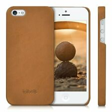 iPhone SE / 5 / 5S Case Smooth Genuine Leather Hard Anti Slip Men Women Cognac