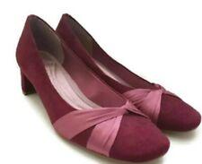 Clarks  Burgundy- pink  Suede Ribbon Trim Court Shoes Block Heel 5.5