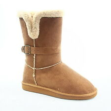 Women's Winter Warm Faux Suede Buckle Button Mid Calf Boot Shoes Size 5.5 - 10