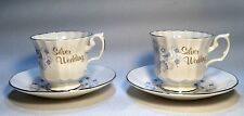 2 Vintage Royal Sutherland H&M Fine Bone China Tea Cups & Saucers Silver Wedding