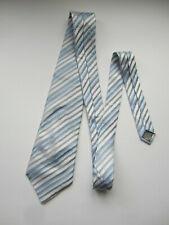 PAUL SMITH  LONDON 100% SILK TIE  Blue Silver White Stripe monogram tipping