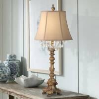 Cottage Table Lamp Candlestick Crystal Gold Beige for Living Room Bedroom