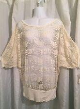 NWT Labanga beige off white sheer lace batwing tunic top overlay Large