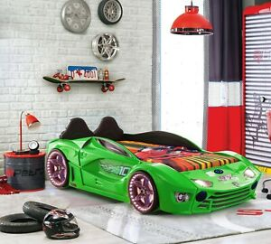 Kids new Single Race Car bed leather seat and Music LEDlights 500W Speaker Green