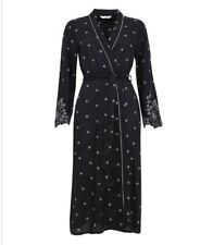 Cyberjammies Nora Rose Embroidered Black Print Woven Robe/ Wrap UK Size 12 BNWT