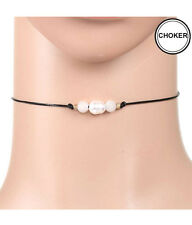 "CHOKER Black Leatherette Cord Freshwater Pearl White Stones 12"" Choker Necklace"