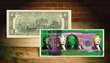 MARILYN MONROE GREEN Rency Graffiti Street Art on $2 Bill Signed #/70