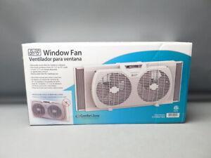 Comfort Zone CZ319WTWM 2 Speed Twin Window Fan 7 in. Blades White