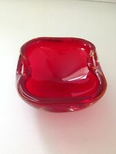 VINTAGE RUBY RED MURANO SOMMERSO GLASS SMALL BOWL DISH ASHTRAY GEODE MANGANESE ?