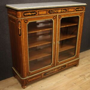 Bookcase Showcase Cupboard Furniture Wooden Inlaid Antique Style Level Marble