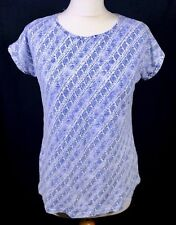 Fat Face Blue Jersey Top T Shirt 10 Stretch Summer Holiday Round Neck Geometric