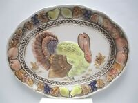 "Vintage Large 18"" Thanksgiving Turkey Platter Hand-painted Autumn Colors Japan"