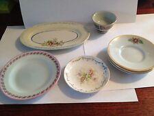 Vintage Miniture Porcelain Platter and 5 Dishes 1 Bowl