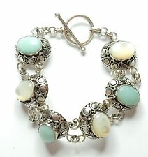 925 Sterling Silver Suarti Mother Of Pearl & Larimar Heavy Toggle Bracelet 47g