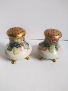 Vintage Hand Painted Large Footed Salt & Pepper Shakers Grapes Vines Gold Gilt