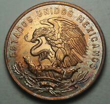 GEM CHOICE 1964 MEXICO 20 CENTAVOS TONED COLOR  UNC BU FLAWLESS LUSTER (DR)