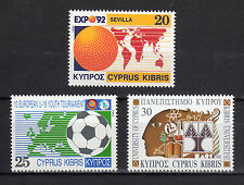 CYPRUS 1992 ANNIVERSARIES AND EVENTS MNH (Vl. 617-619)