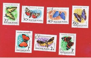 Hungary #1268-1271 #C206-207  VF used  Butterflies Free S/H