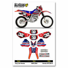 1996-2004 HONDA XR 250 R Graphics Kit TLD Dirt Bike Graphics kit by Enjoy MFG