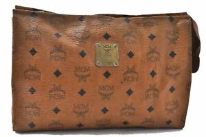 Authentic MCM Cognac Visetos Leather Vintage Pouch Brown C3241