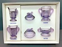 Vintage Boyd's Glass Purple Children's Lamb Set