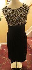 NEW RALPH LAUREN CHAPS  Black Ruched Empire Dress M NWT $90. Black/White Top