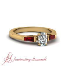 .90 Ct 18K Yellow Gold Engagement Rings With Ruby And Cushion Cut Diamond GIA
