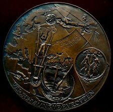 "ART NOUVEAU HUGE BRONZE MEDAL ""EUROPEAN HUMANISM"" MYTHOLOGY, BIBLE EGYPT / N121"