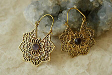 FINE ETHNIC MANDALA AMETHYST HANDMADE TRIBAL BRASS BOHEMIA HOOPS GYPSY EARRINGS