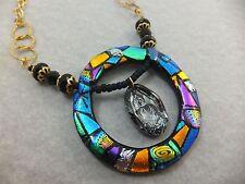 Statement Piece - Dichroic Glass & Swarovski Crystal Buddha Necklace