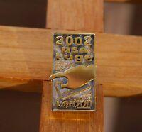 2002 USA Luge Verizon Lapel Pin Pinback Gold Tone Metal
