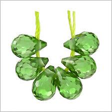 """6 Cubic Zirconia Teardrop Briolette Beads 4 x 6mm """" Peridot Green """" #96048"""