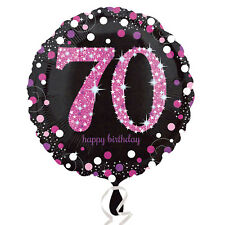 70th Happy Birthday Foil Balloon Black & Pink Party Decorations Age 70