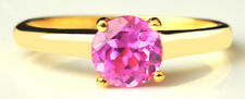 1.40Ct Round Shape Natural Pink Tourmaline Ring In 14KT Yellow Gold